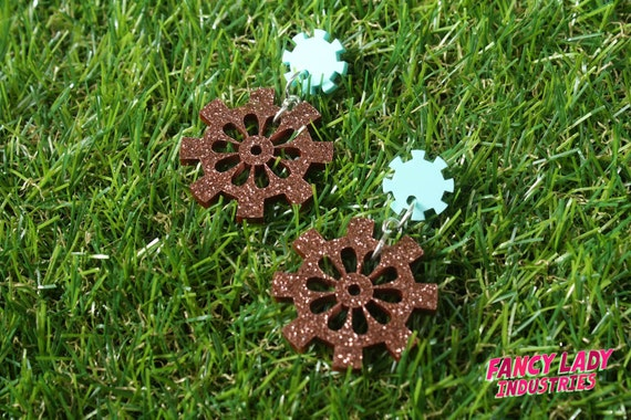 Mint and Copper Glitter Cog and Gear Dangle Earings, Gearrings, Steampunk Earrings, Laser Cut Acrylic Earrings,