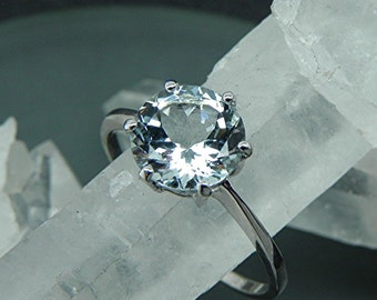 AAAA Aquamarine Natural Untreated   10mm  3.26 Carats   14K White gold Engagement ring.    1902