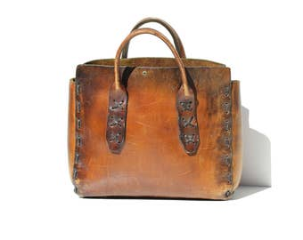 Vintage Thick Brown Leather Hand-stitched Tote Bag