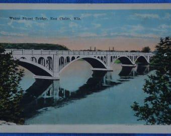 Water Street Bridge Eau Claire Wisconsin 1923 Postcard White Border