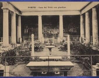 Pompei Italy Casa dei Vetti con Giardino House of Faun Black and White Early 20th Century Postcard
