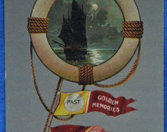 Sailing Ship Pennants Past Present Future Antique Postcard Made Saxony Germany