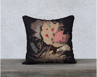 Graphic Fall Leaves Throw Pillow Cover, Maple Leaf and Oak Leaf Autumn Theme Home Decor