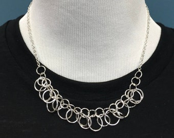 Silver Rings Ruffle Necklace