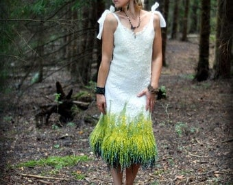Felted white wedding dress woodland  fairy dress alternative gown from wool silk and wool locks  Ready to ship size S or HANDMADE TO ORDER