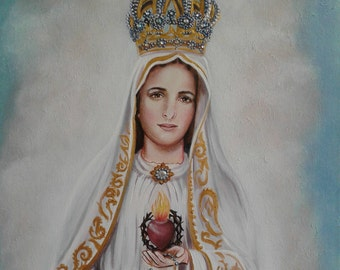 """Our Lady of Fatima, 16"""" X  20"""" Oringinal Arcylic Painting OOAK Painting of the Mother of God, Mother of Our Savior Catholic Art, signed"""