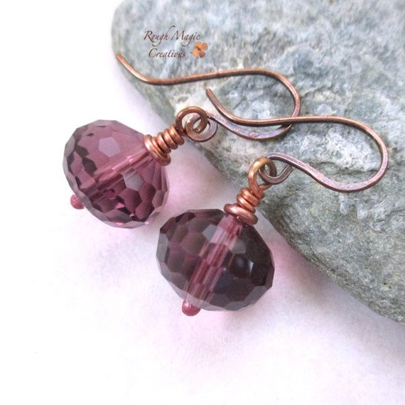 Purple Glass Earrings, Large Chunky Dangles, Faceted Glass Drops, Casual Elegant Jewelry for Women, Rustic Antique Copper Ear Wires  E222