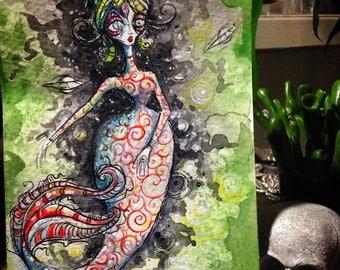 Mars Attacks space Mermaid original painting
