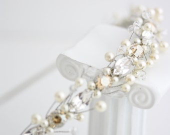 Simple Wedding headband Pearl Bridal Headband Swarovski Crystal Pearl Bridal Headpiece Wedding Hair Accessories Bridal Tiara, Myah