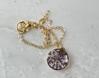 Purple Queen Annes Lace Necklace Pressed Flower Jewelry Botanical Jewelry Bridal Jewelry 14k gold fill