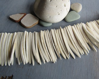 Coconut stick beads, white , triangle shape, boho bohemian ethnic exotic style , natural material , 40 to  50mm long (50 beads ) 6PH6
