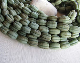 green lampwork glass beads, opaque tone, melon oval wavy,  rustic gritty aged look , indonesian 12-14mm dia x 16-20mm long (6 beads)  6CB6-4