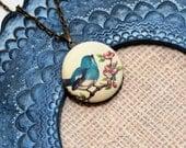 Blue Bird Locket Necklace, Bird Necklace, Bird Pendant, Pink Blossom Necklace, Bluebird Necklace