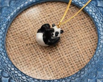Panda Necklace, Bear Necklace, Black and White Panda Jewelry, Animal Necklace