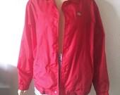CHERRY RED // Vintage 90s Dickies Jacket Mens Large Lightweight Nylon Snap Jacket Punk Oi Rocker 1990s Workwear Skater Clothing