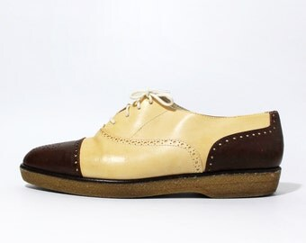 1980's Anne Klein Two Tone Leather Oxfords Brogues