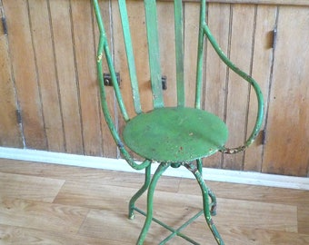 Vintage Dentists Chair • Antique Dental Medical Chair • Shabby Industrial Swivel Stool