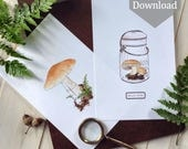 "Nature Study Mushroom Prints - Small - Digital - Printable PDF - 8.5"" x 5.5"""