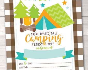 Camping Printable Birthday Party Invitation for Boys Instant Download PDF