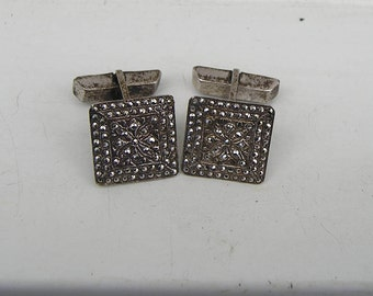 Vintage Sterling Silver & Sparkling Marcasite Cufflinks