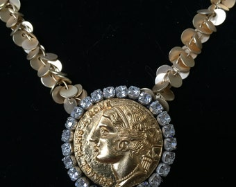 Gold Necklace Made with Chanel Coin Style Button