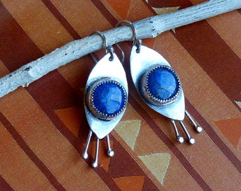 All Seeing Eyes Modern Relics Lapis & Rustic Sterling Silver Earrings . Rustic Boho Tribal Southwest Style Jewelry