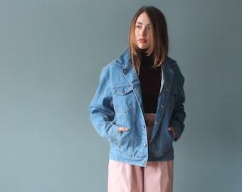 oversized vintage wrangler denim jacket   blue jean jacket  