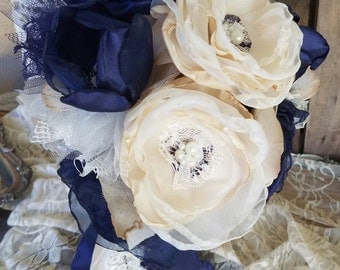 Navy Blue Bridesmaid bouquets ,Fabric Bridesmaids Bouquet, Fabric flower bouquets  wedding flowers, throw bouquet, artificial bouquet