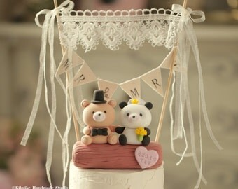 Panda and Bear Wedding Cake Topper