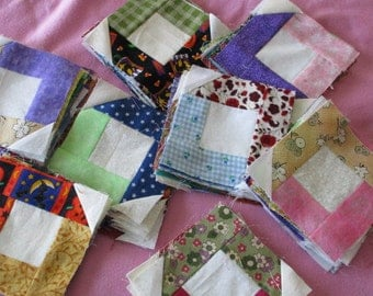 Set of Quilt blocks, made with scraps 4-1/2 x 4-1/2 inches