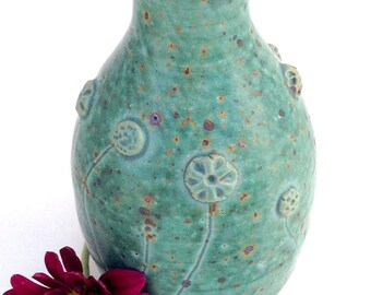 Little Blue Green Stoneware Bud Vase