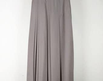 Vintage Taupe Brown High Waist Pleated Midi Skirt S