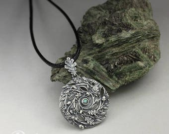 Spiral of Life - forest - silver and labradorite pendant, oak leaves, branches and acorns, limited collection