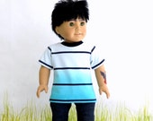 American Boy Doll Short Sleeve Tee, 18 inch Boy Doll Upcycled T Shirt