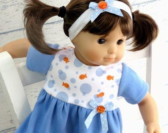 Baby Doll Clothes M2M Gymboree Little Goldfish Dress and Matching Headband, 15 inch Doll Outfit