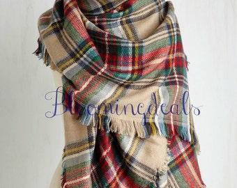 Plaid Blanket Scarf Tan-Red-Green Unisex Scarf, Monogram Winter Scarf, Oversized Scarf, Plaid Tartan Scarf Christmas Scarf