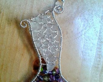 Mermaid tail sea glass  pendant White sterling silver, amethyst, rose quartz, tanzanite, watermelon tourmalene, peridot  beach lover