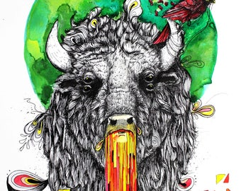 "Buffalo Art - American Buffalo - Bison Illustration Print - Surreal Animal Art -  Wall Art - 13x19 Size -  ""Eyes Wide Open"" by Far Out Arts"