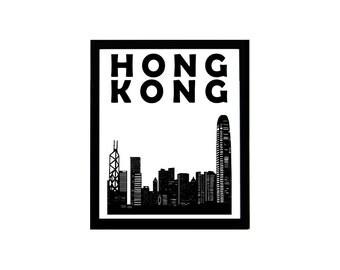 Hong Kong Print // Hong Kong Skyline // Chinese Art // Hong Kong Poster // Hong Kong Art // Gift for Couples // China Print // Wedding Gift