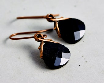 Swarovski Crystal Earrings, Dangle Earrings, Drop Earrings, Black, Copper Earrings, Noir Jewelry, Black Crystal, Dark Black, Gift Idea