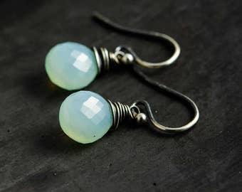 Sky Blue Earrings, Drop Earrings, Chalcedony Earrings, Dangle Earrings, Aqua Blue, Sterling Silver, Pastel Blue, Sky Blue, PoleStar