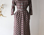 Vintage 1950's Adele Simpson Dress ~ Vintage 50s New Look Era Adele Simpson Chevron Striped Wool Day Dress Waist 28