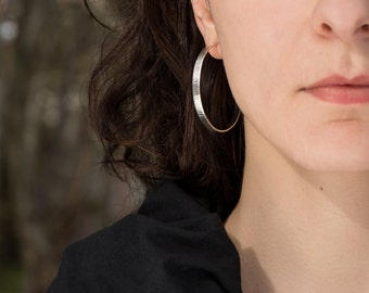 Big silver hoop earrings/ Large silver hoops/ Solid silver hoops, wavy texture/ 50mm 2 inch/ hammered silver/ Wedding gift for her/ EHWW-50