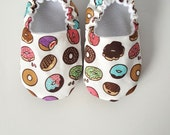 Baby Shoes, Baby Moccasins, Childrens Indoor Shoes, Donuts