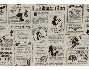 Alice in Wonderland - Alice's Adventures Times L40678-11 Vintage/Grey, Japanese Cotton Linen Girl's Story by Lecien of Japan, half yard