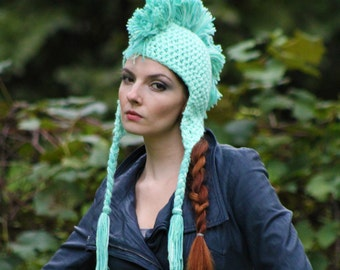 Mint Green Mohawk Hat Handmade Unique Gifts For Men Women Boys and Girls