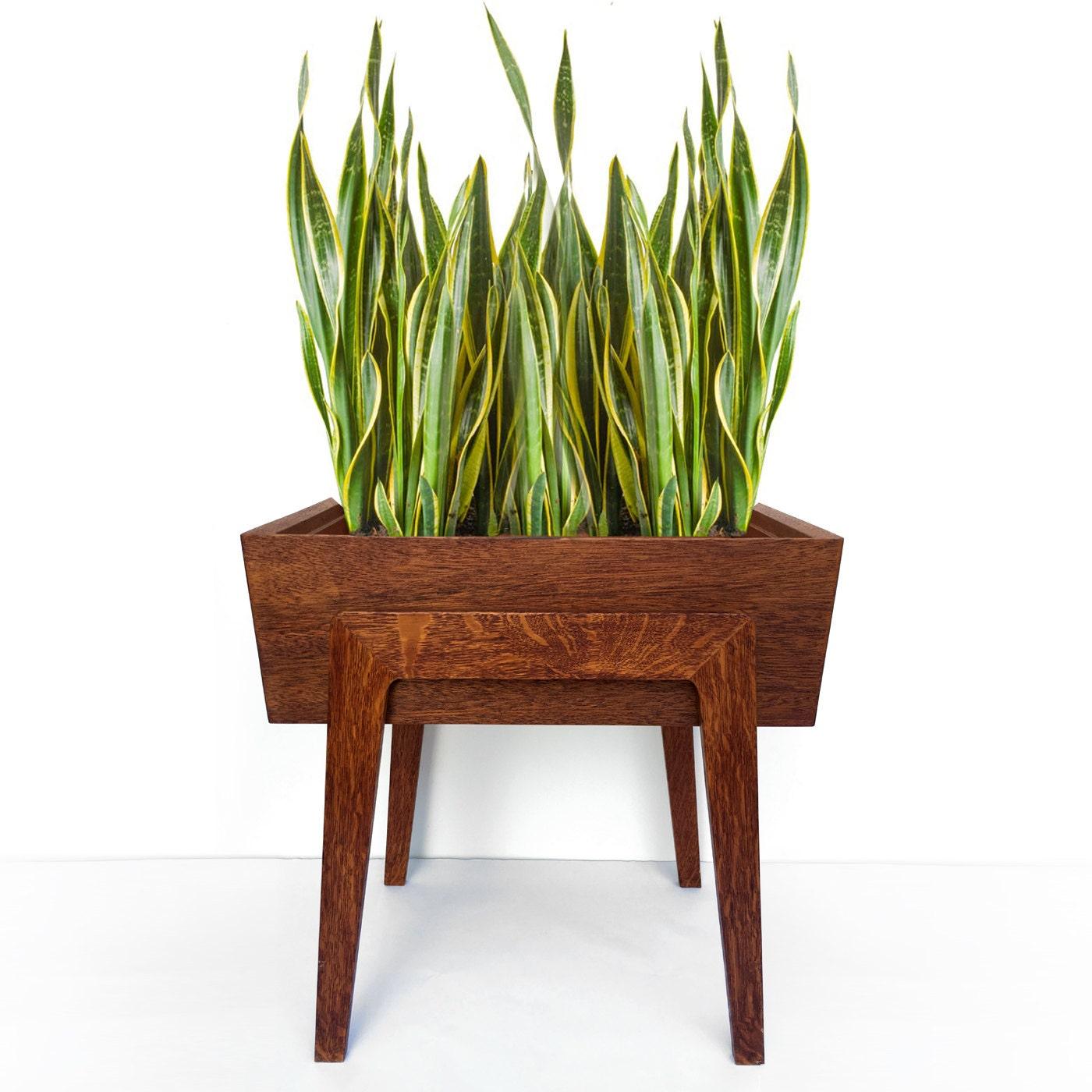 Vintage Mid Century Modern Wood Planter