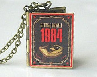 1984, George Orwell, Book Locket, Novel Locket, English Novel, Big Brother, Doublethink, Orwellian, Gift for Reader, Friendship Gift