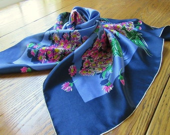 Vintage Glentex Silk Scarf, Sapphire Blue & Periwinkle with Purple Bouquets, Floral Silk, Hand Rolled, Vintage Silk Scarf, 1960's Fashion