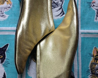 Vintage 1960's gold leather mod ankle boots 7M